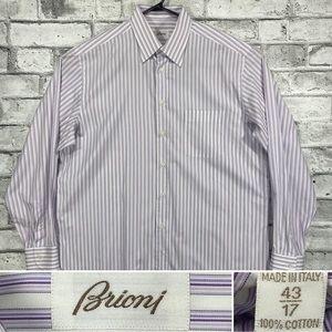 Brioni Mens Size 17, 43 Button Front Dress Shirt White w Purple Vertical Stripes